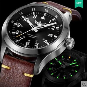 Yelang Men Quartz Watch Tritium T100 Ronda Movement Lithium battery pilot watch WR100M Sapphire Genuine Leather Military Watch T200409