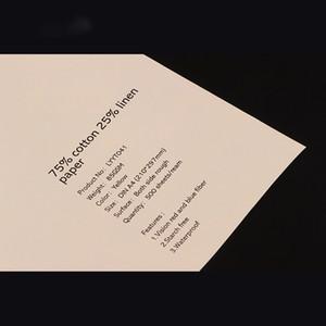 sans amidon 75% coton, 25% lin Papier 85g / m² avec fibres rouges et bleues, papier pour billets de banque, couleur blanc ivoire, format populaire US A4 (216 * 279mm)