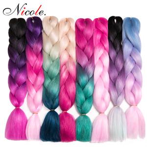 Nicole Hair Ombre Tres colores Expresión sintética trenzando 24 pulgadas 100 g / paquete Jumbo trenzas Kanekalon trenzando pelo ganchillo trenzas pelo