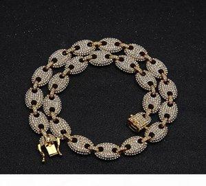 2019 Men's Hip Hop Gold Plating Marine Link Iced Out Bling Chain Necklace 8inch 16inch 18inch 20inch 22inch 24inch Link Chain Bracelets