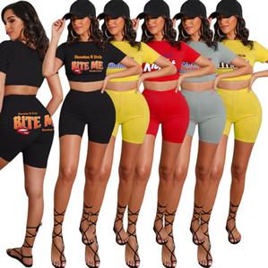 Plus tamaño de las mujeres chándal Letters labios color sólido de manga corta camiseta de Cultivos Top Pantalones cortos de dos piezas D52503CZ juego determinado de accesorios de deporte
