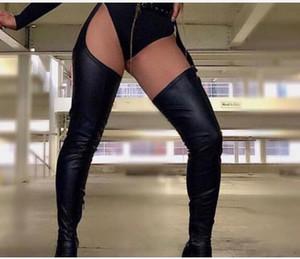 Высокие сапоги над коленом 2020 Стильный Runway Высокий каблук сапоги кожа над коленом зима Женская обувь бедро высокие длинные сапоги с ремнями