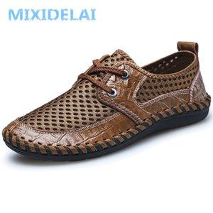 MIXIDELAI 2019 Neue Herrenschuhe Komfortable Atmungsaktive Mesh Wohnungen Schuhe Mode Lace-Up Casual Männer Freizeit Große Größe 38-46