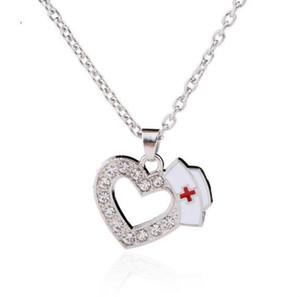 W27 Nurse Cap Charms Crystal Love Heart Pendant Necklaces Medicine Sign White Enamel Red Cross Profession Nurse Necklace