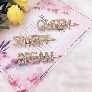 Acessórios de cabelo Letter Bobby cristal Pinos Palavra Pedrinhas cabelo pinos metálicos Glitter Cabelo Barrettes Sparkly para meninas das senhoras