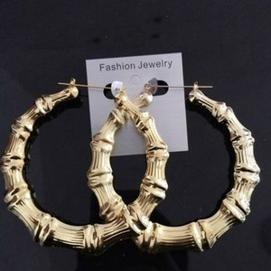 designer jewelry hip hop earrings large bamboo earrings gold color for women to the party hot fashion