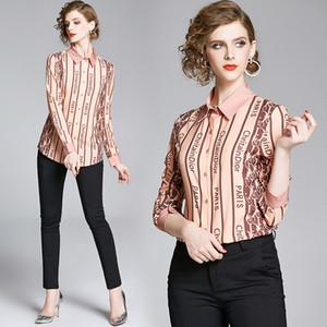 Neue Ankunft 2020 Runway Elegante Frauen Brief Druck Schwarzer Revers Slim Hemden Mode Damen Casual Office Langarm Button Blusen Tops
