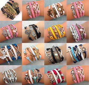 wholesale 30pcs Lot women's infinity charms bracelets chain mix styles metal rope wristbands bangle friendship party gifts brand new