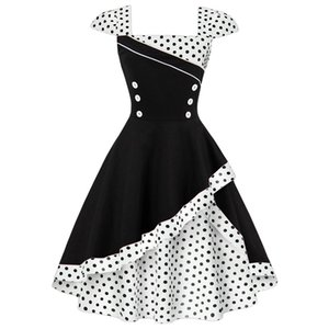 Joineles plus size 4xl mulheres retro dress vintage rockabilly feminino vestidos polka cosplay algodão dress y19071101