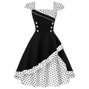Joineles Plus Size 4xl Vestido retro de mujer Vintage Rockabilly Feminino Vestidos Polka Cosplay Vestido de algodón Y19071101