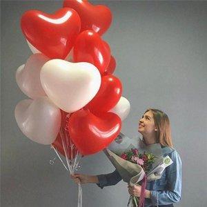 20pcs / lot Romantik 10 İnç Aşk Kalp Lateks Helyum Balonlar Düğün Dekorasyon Globos Sevgililer Günü Doğdun Partisi Ballon