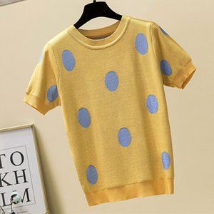 shintimes à pois T-shirt femmes T-shirt en tricot de coton 2020 Été T-shirt décontracté Corée Vêtements T-shirt Femme Camisetas Mujer CX200605