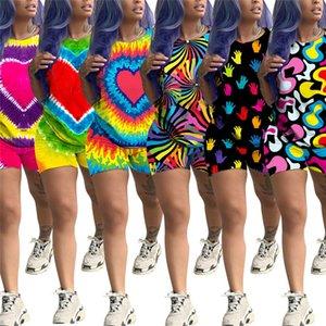 Летние женские шорты наряды Tie-Dye с большим сердечком с принтом спортивный костюм с коротким рукавом футболки топы + шорты 2 шт. Комплект футболка костюм костюм одежда