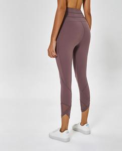Çıplak çalışma spandeks yüksek belli bir kadın örgü yoga pantolonları LU-36 düz siyah spor spor giyim tozluklar fazla elastik spor bayanlar baskılı