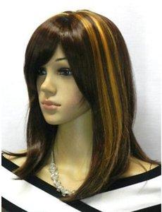Spedizione gratuita Nuova vendita calda! Moda marrone scuro + Golden Mix parrucca donna medio lungo dritto