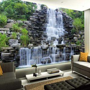 O transporte da gota personalizado Mural 3D Wallpaper Água que flui Muro Natureza Paisagem Cachoeira Art Pintura Mural Wallpaper Decor