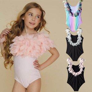 Ins 2020 feather girls swimsuit fashion kids swimsuit girls bikini One-piece Kids Bathing Suits Kids Swimwear Child Sets Beachwear B1024
