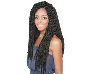 ¡Gran venta! 1 Unids 18 pulgadas 3D Cubic Twist Crochet Hair 12 Strands / pack Ombre Extensiones de Cabello Trenzas Sintéticas Para Negro Africano mujeres
