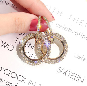 Luxury Designer Earrings Jewelry High Grade Elegant Crystal Circle Earrings Gold Silver Blue Colors for Wedding Party