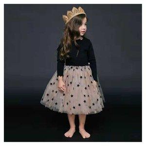 Çocuklar için Kızlar Tasarımcı Elbise Dantel Elbise Çocuklar için Yıldız Prenses Elbise İngiliz Stil Şık Etek Sonbahar ve Kış Yeni Moda Stil