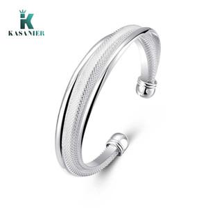 Free Shipping Wholesale Silver Jewelry Silver bracelet Bangle Cuff Women Adjustable Silver Bracelet Birthday Gift KASANIER