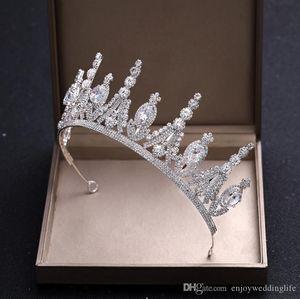 2020 Günstige Hochzeit Kopfschmuck heißen Verkaufs-Weinlese-weiße große Tiara Crown Luxuxkristallglas wulstiger Brautoberteil