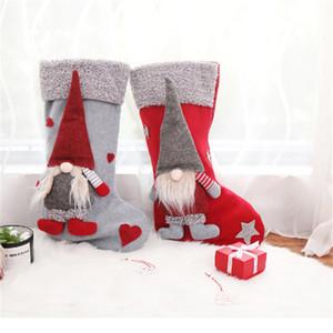 Weihnachtsstrümpfe Halter mit 3D schwedischen Gnome-Puppe-Weihnachtsbaum-hängende Anhänger Kamin Ornamente Feiertags-Dekorations-Geschenke JK1910