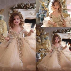 2019 Vestidos Pageant partido bonito alargamento longas mangas de renda Floristas Vestidos Tulle frisado apliques de pedra Layered Ruffles meninas do casamento