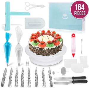164PCS / Set torta multifunzione Turntable Set Cake Decorating corredo di attrezzi della pasticceria degli ugelli del fondente accessori Strumento di cucina Dessert di cottura
