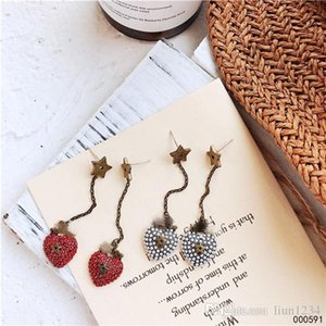Europe and the United States fashion restores ancient ways pentacle star long fringe color love ear stud there ear drop