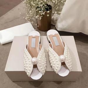 (Mit Box + Staubbeutel) Alle Über Perlen Rutsche Weiß Satin Sandalen Frauen Hausschuhe Strand Schuhe Sommer Neue Ankunft Low heel Casual Sandalen