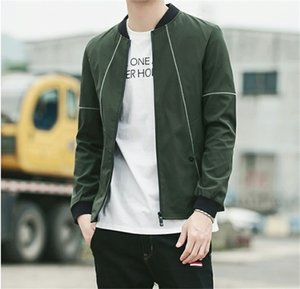 Spring Stand Collar Panelled Zipper Mens Jackets Long Sleeve Thin Teenager Mens Outerwear Man Solid Color Clothing