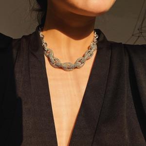 شعبية مصمم الأزياء الفاخرة تألق مبالغ فيها كبيرة حجر الراين الماس المختنق بيان قلادة للمرأة الفتيات الشرير نمط