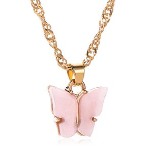 DHL gold plated butterfly charm necklace pendant small acrylic blue pink butterfly necklace nx jewelry Gift for Her 51cm