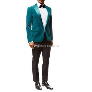 Newest One Button Velvet Wedding Groom Tuxedos Peak Lapel Groomsmen Mens Dinner Blazer Suits (Jacket+Pants+Tie) NO:1856