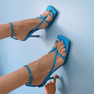 origin package sexy high heels squared sole V strap stretch sandal genuine leather blue white black