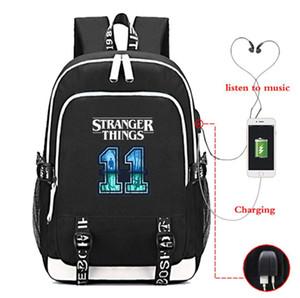 Bolsa Escola Drama americano estranha história Backpack carregamento USB Backpack Escola Estudante Bolsa de Comércio Exterior