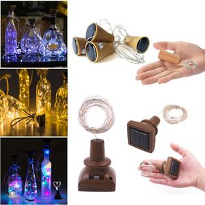 Lámpara Botella 1m 2m LED solar Vino tapón del partido al aire libre alambre de cobre Hada tira de la decoración noche de la novedad DIY 10LEDs 20LEDs Cork cadena luces