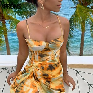 Aproms Sexy Ремешок щелевой клуб платья партии лето рукава Ruched Midi платье Tie-краситель Мода печати сарафаны Vestidos 2020