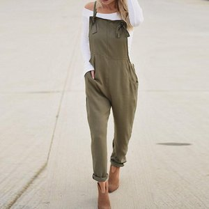 2020 Summer ZANZEA Women Casual Spaghetti Straps Pockets Long Playsuit Solid Slim Jumpsuit Overalls Bodysuit Work Turnip Pants