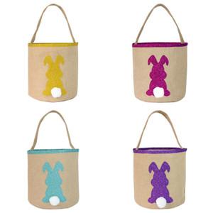 Cestas lentejuelas Pascua cesta del conejito bolsa de arpillera conejo cola cubo lindo bolsas de mano yute Huevos de Pascua de almacenamiento del partido del festival del bolso del regalo del caramelo
