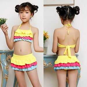 Girls' split cute children's sunscreen boxer swimsuit baby princess dress swimsuit for middle and large Children