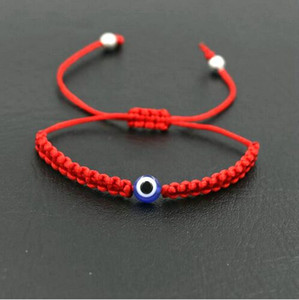 20pcs / 10set Glücks Turkish Evil Eye Braid Armband Rot Blau Seil Faden Schnur Männer Frauen Chakra Armbänder Paare Schmuck