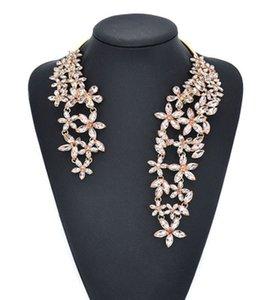 Collana grande di lusso per donna Novità gioielli di moda con fiore di cristallo e gemma Girocollo maxi dichiarazione Girocollo con polsino 1 pezzo