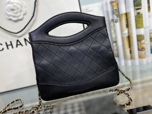 New classic lady's handbag 7A high-end custom quality handbag diagonal cross bag fashion trend business casual style gold metal accessories