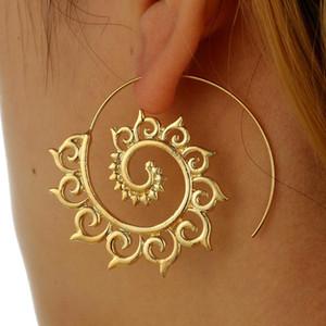 New Exquisite Creative Simplicité géométrique circulaire Whirly Boucles d'oreilles pour les femmes Party Bijoux Or Argent