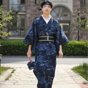 Tokyo Osaka Pijama Robe resmi Giyim Male kimono Geleneksel Japon Konfeksiyon adam Standard kimono Polyester Blend Pamuk bornoz