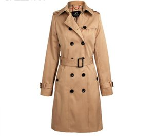 New Spring Autumn Women England Style Trench Coat Middle Long Double Breasted Solid Color Slim British Outwear Trench Coats A187