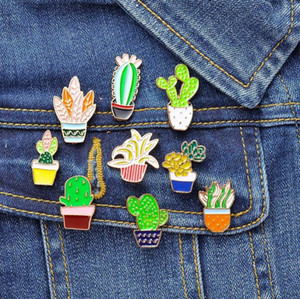 Fashion Cartoon Plant Cactus Brooches Cute Mini Plant Pot Enamel for Women Denim Jackets Lapel Pins Hat Badges Kid Jewelry Accessories GD222