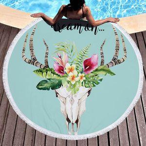 Олень пляжное полотенце Лось Одеяло Пляжный Круглый Круг Коврик для йоги Большой круглый пляжное одеяло с кисточками из микрофибры 59 дюймов